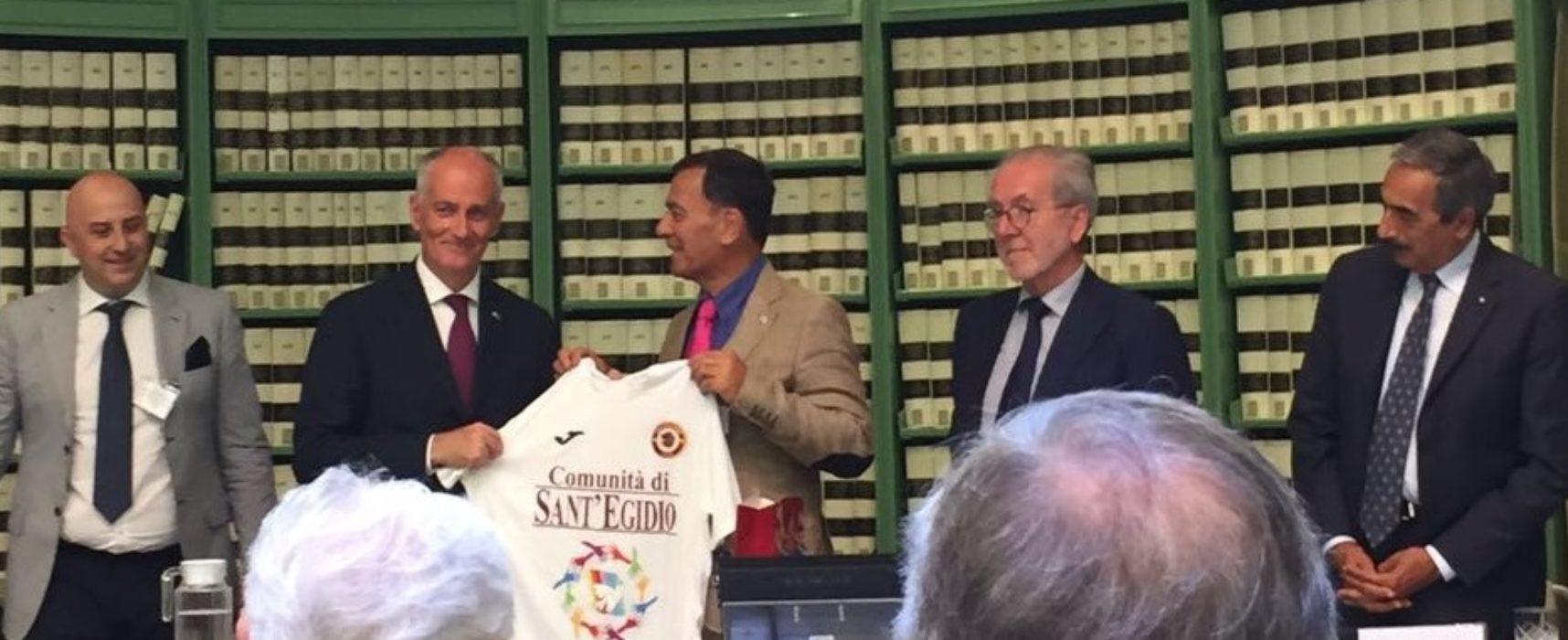 """Il Trastevere Calcio al convegno """"Sport e Legalità"""" in Senato. Donata la nostra maglia al Capo della Polizia Franco Gabrielli"""