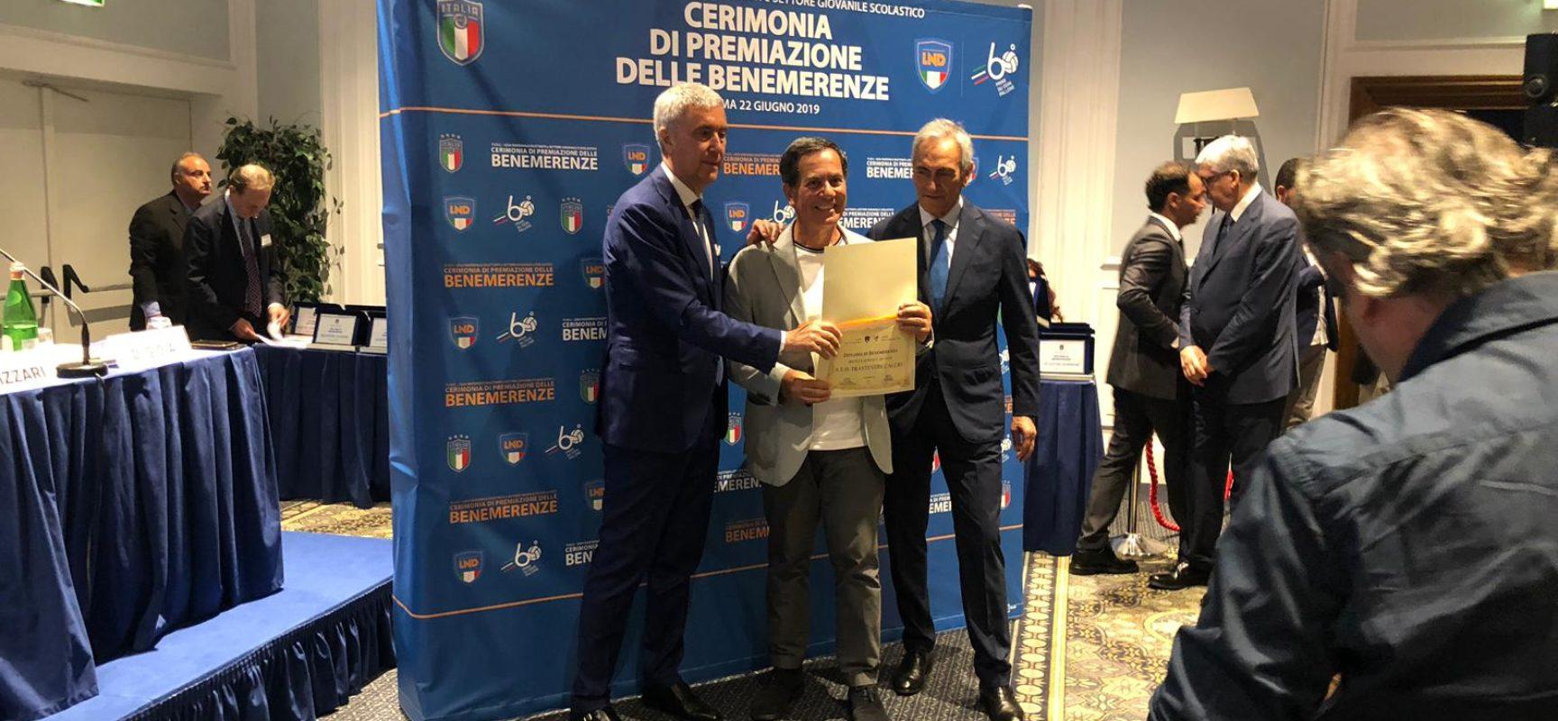 TRASTEVERE PREMIATO DALLA FIGC PER I 100 ANNI DI ATTIVITÀ